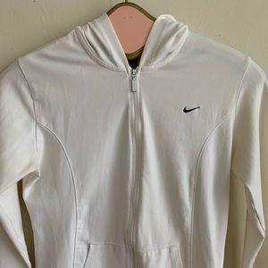 Nike Tops - Nike White Zip Up Hoodie With Black Stripe
